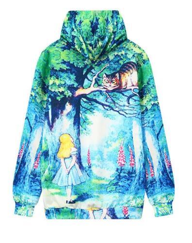 Woman Hat hoodies Alice in Wonderland Cheshire cat Printed pullover hoodies M L
