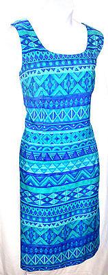 Sag Harbor Womens Blue and Green Sheath Dress Sleeveless Size 14