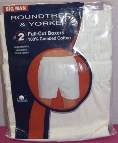 ROUNDTREE /& YORKE 2 Pack Full Cut Boxers White Big Man Cotton Men's Size 56