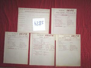 N°4285 / moteur DEUTZ    5 pages techniques  réglages ....