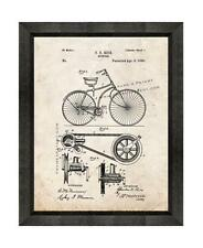 Bicycle Patent Print Old Look in a Beveled Black Wood Frame