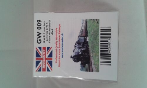 Lettering Decals for GWR Locos yellow//red//black Modelmaster MMGW009 L1 3 pairs