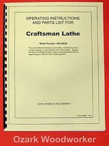CRAFTSMAN-Dunlap-6-034-Metal-Lathe-109-20630-Instructions-amp-Parts-Manual-0192