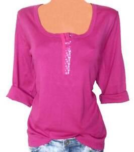 b3d93027b2c68e SHEEGO Shirt Gr. 44 46 48 50 52 54 Pailletten fuchsia Damen NEU ...