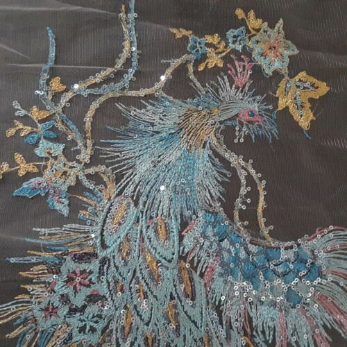 Peacock Gold Sequin Feathers Black Lace Embroidered Sew-On Dress Patch Applique