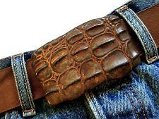 Gürtelschnalle Buckle Kroko Reptil rost rostig braun orange vintage used 4cm