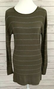 Caslon-Tunic-Thermal-Top-Womens-Small-S-Green-Striped-Long-Sleeve-Knit-Stretch