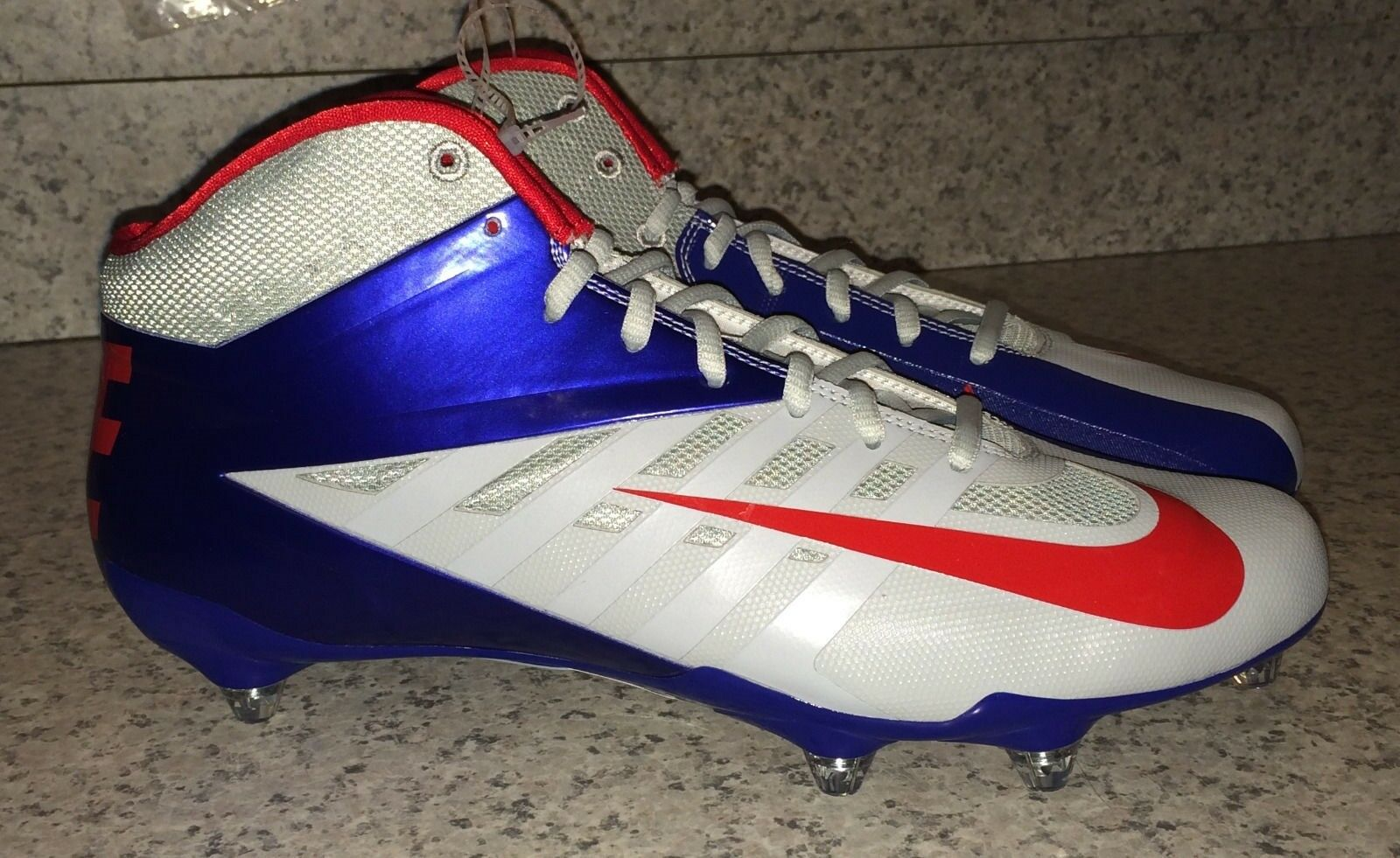 NIKE Vapor Pro Mid D Detachable Football Cleats Grey bluee Red NEW Mens 12 13.5