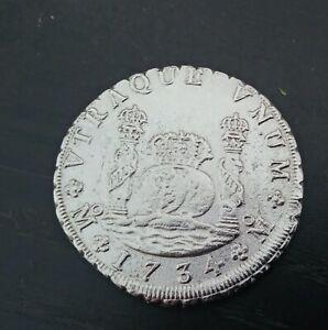 Reproducción de moneda 8 Reales Felipe V Plata 1734  Metal: Plata  Ceca: México