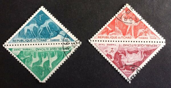 Frugal Animals: 2 Pairs Top Old Triangle Stamps / Tchad Prix Fou