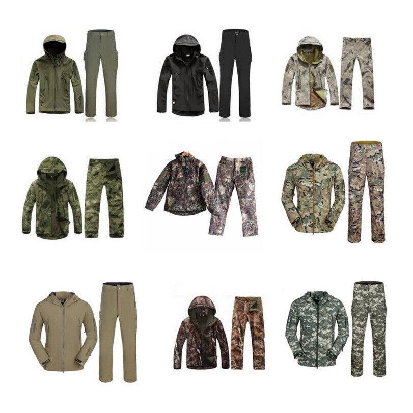 De hombre de invierno con capucha de abrigo de a prueba de viento Chaqueta Militar Conjunto De Manga Larga Pantalones