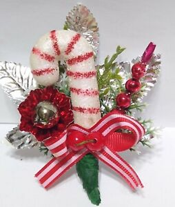 Vintage Christmas Corsage CANDYCANE Mercury Glass Bead Silver Leaf package tie