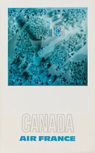 Original Vintage Poster-Raymond PAGES-Air France-Canada-Avion - 1971