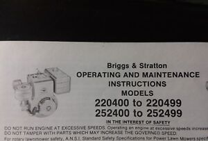 Briggs Stratton 220400 To 220499 252400 Horizontal 10 11 Hp Engine Owner Manual Ebay