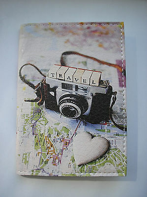 """PASSPORT Cover Case """" I LOVE TRAVEL"""" Travel Wallet  Faux leather  NEW"""