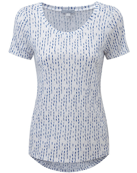 BNWT Pure Collection Lusso Biancheria T-Shirt-Blu Dash Stampa Misura RRP