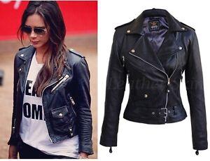 Victoria Beckham Style Womens Black Biker Motorcycle Slimfit Leather