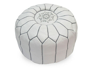 Moroccan Leather Pouffe in White with Grey stitching