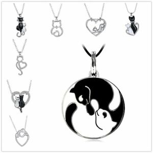 Women-Crystal-Silver-Plated-Aniamal-Cat-Heart-Shaped-Charm-Pendant-Necklaces-New