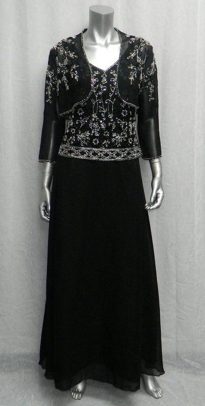 JKARA NEW YORK schwarz Beaded 2pc Sleeveless V-Neck Cocktail Gown Dress sz 10