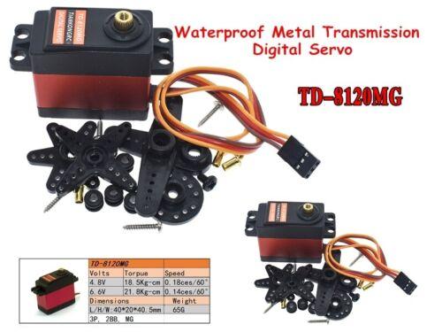 2x TD-8120MG Waterproof Metal Transmission Digital Servo 20kg Torque Remote SV4C
