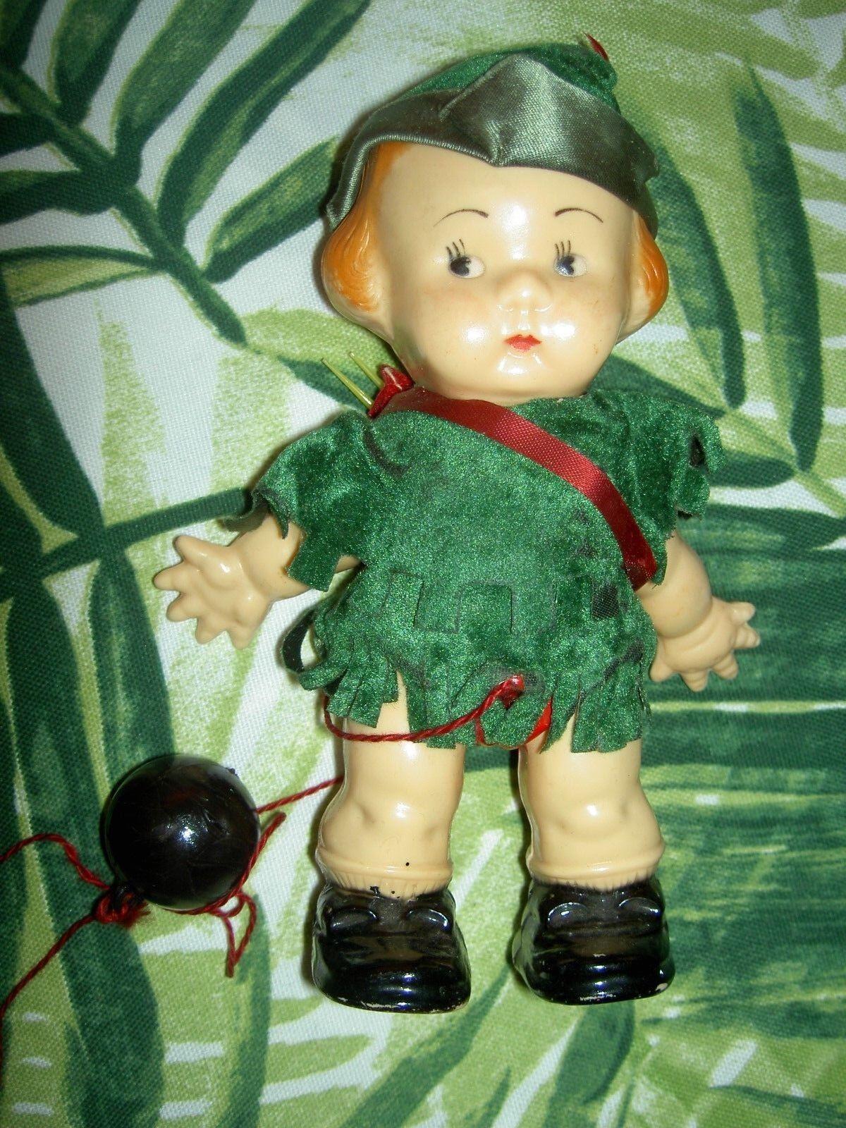 1940 -års årgång, EDI - eller hårdplastisk ramp promänader -docka, alla original ROBIN HOOD -leksaker