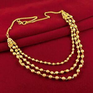 Plaque-or-18K-Multi-Brins-Collier-Chaine-Traditionnel-Breloque-Mode-Bijoux