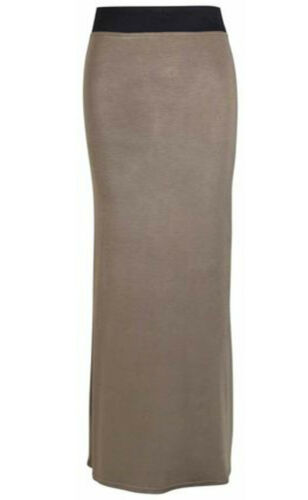 Women Ladies Jersey Maxi Skirt Long Gypsy Skirt Bodycon Summer Dress Size 8-14