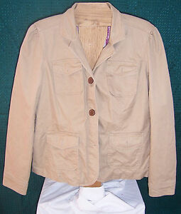 Button Gap Down Maat Lined Khaki Jacket Misses Brown 16 Irnwa6qfr