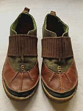 Women's MERRELL Montreal Chestnut slip on Sz 7.5 Brown Leather & Green Wool Shoe