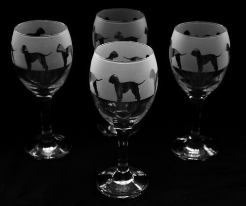 Bedlington Terrier Dog set of 4 Wine Glasses.