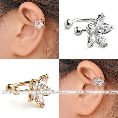 Women Fashion Cz Crystal Flower U Shape Ear Cuff Clip-on No Piercing Earring 1pc