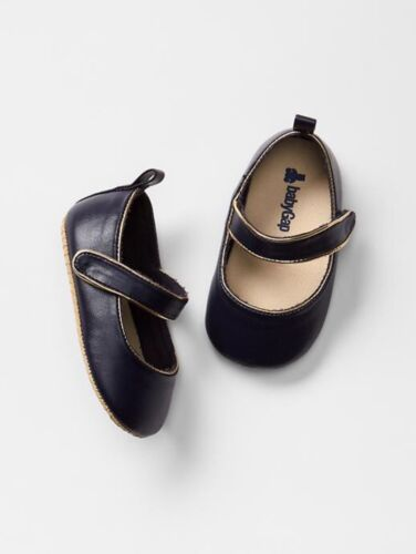 GAP Baby Girl Size 6-12 Months NWT Navy Gold Mary Jane Flats Shoes