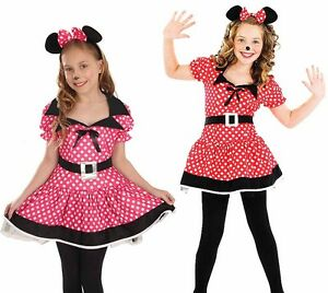 Childrens-Minnie-Mouse-Fancy-Dress-Costume-Disney-Kids-Girls-Outfit-4-12-Yrs