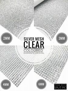 Silver-Iron-on-Clear-Diamante-Strips-Crystal-Mesh-for-Wedding-Clothing-Decor