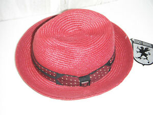 72c9866013a NEW Mens STACY ADAMS milan style straw FEDORA HAT size MEDIUM color ...