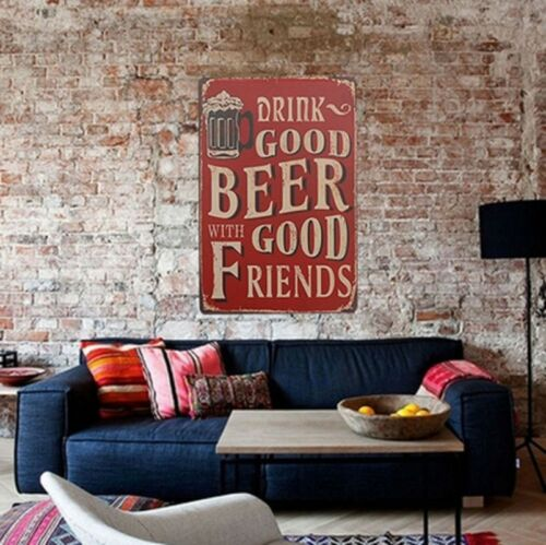 """Aluminium Vintage Sign /""""Drink Good Beer With Good Friends/"""" Pub Bar IronsPainting"""