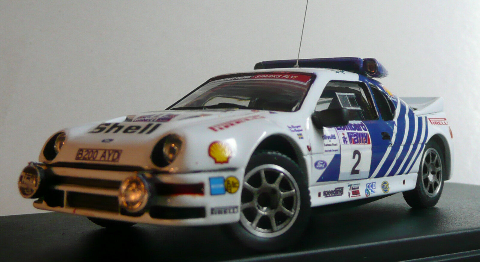 PIECE UNIQUE    FORD RS 200 gr.B - BLOMQVIST - MOTORCRAFT - RAC RALLYE 1986