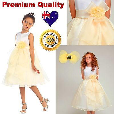 White & Yellow Flower Girls Dress, Wedding Party Birthday Girls Dress Size 2 - 4