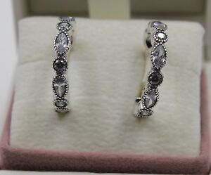 2684f32b1 Image is loading AUTHENTIC-PANDORA-Alluring-Brilliant-Marquise-Hoop-Earrings -290724CZ-
