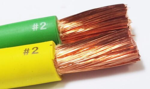 12/' FT 2 AWG GAUGE EDPM WELDING CABLE 6/' GREEN 6/' YELLOW USA NEW