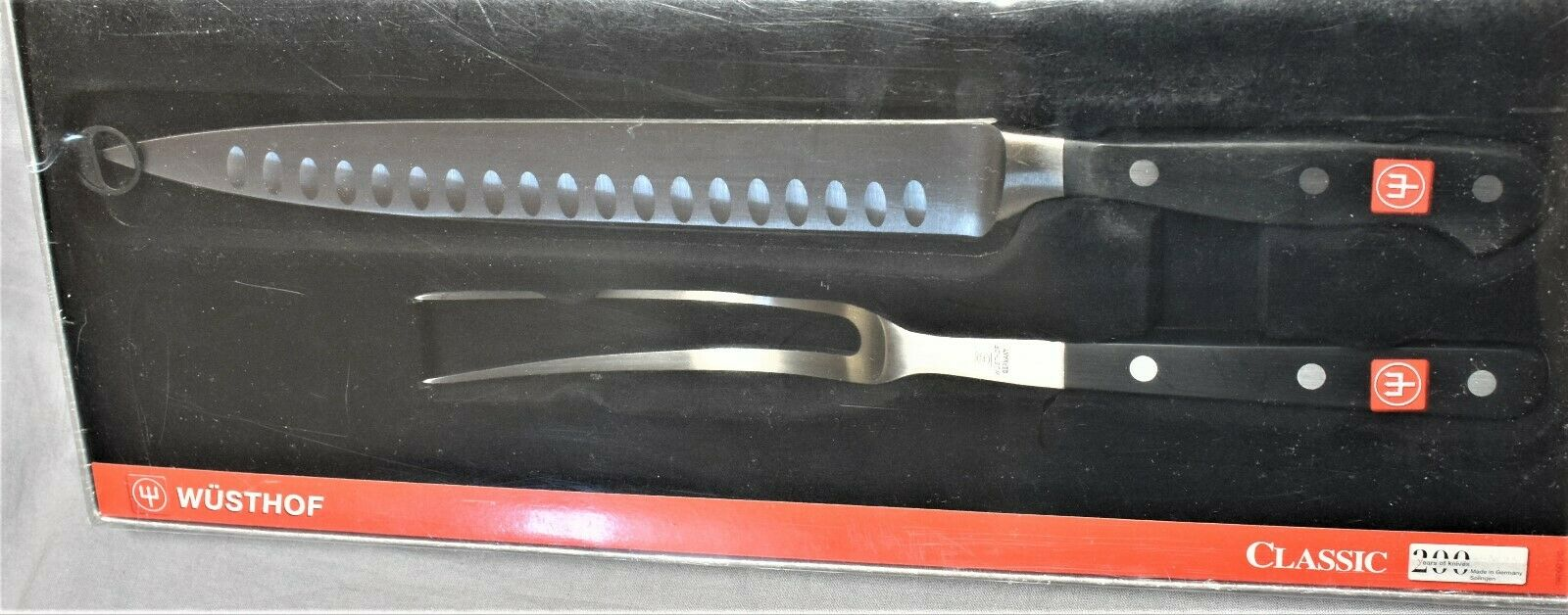 NEW Wusthof 4524     23cm Classic Carving Set 9  Hollow Ground Knife &  Fork 2 pc ee78f2