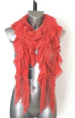 BNWT M/&S Collection Red Crochet Ruffle Scarf