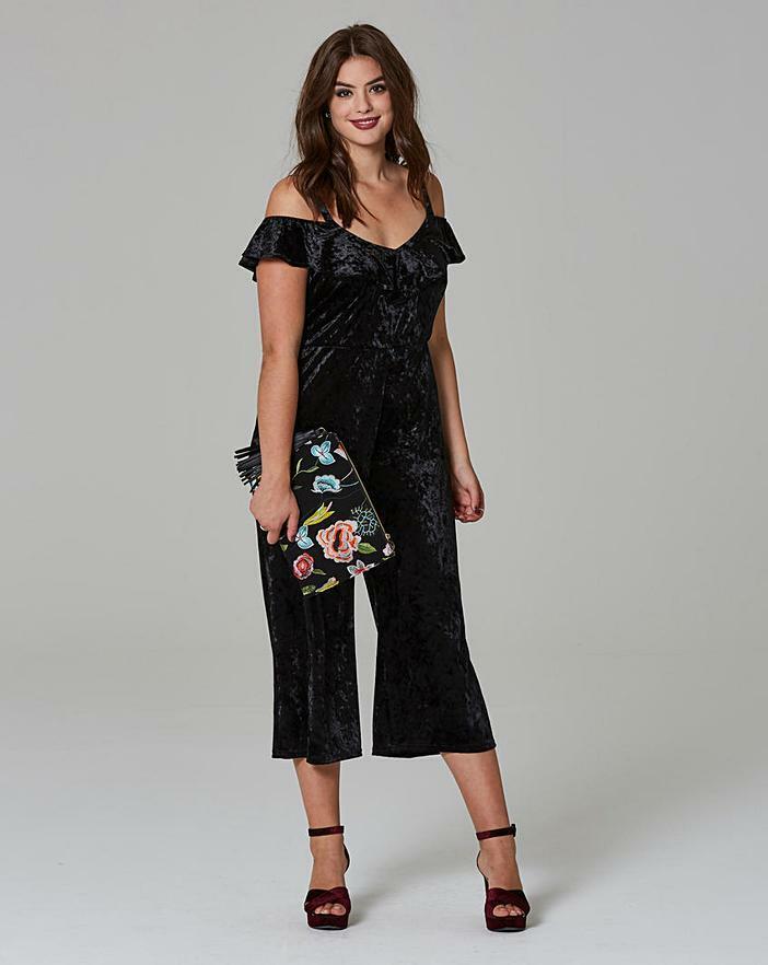 Bnwt Simply Be Noir Velours à Volants Culotte Combinaison Taille Uk 20