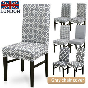 Wondrous Details About Elastic Dining Chair Covers Seat Slipcovers Kitchen Chair Protective Gray Covers Pabps2019 Chair Design Images Pabps2019Com