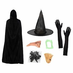 Witch-Halloween-Fancy-Dress-Set-Hat-Gloves-Nose-Teeth-Chin-Claws-amp-Cape