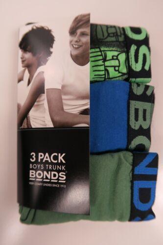 Bonds Boys Kids 3 Pack Cotton Trunks Underwear sizes 2 3 6 8 10 14 16