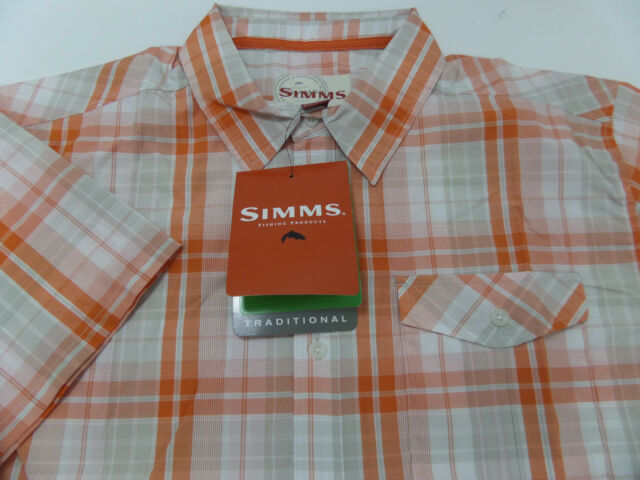 Simms BIMINI Short Sleeve Shirt ~ Ink Plaid NEW ~ Closeout Size Large