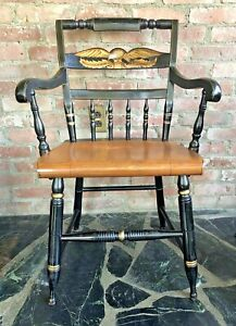 L.Hitchcock~SIGNED 1960-80s STENCILED EAGLE BACK,HARVEST PLANK SEAT ARM CHAIR ~2