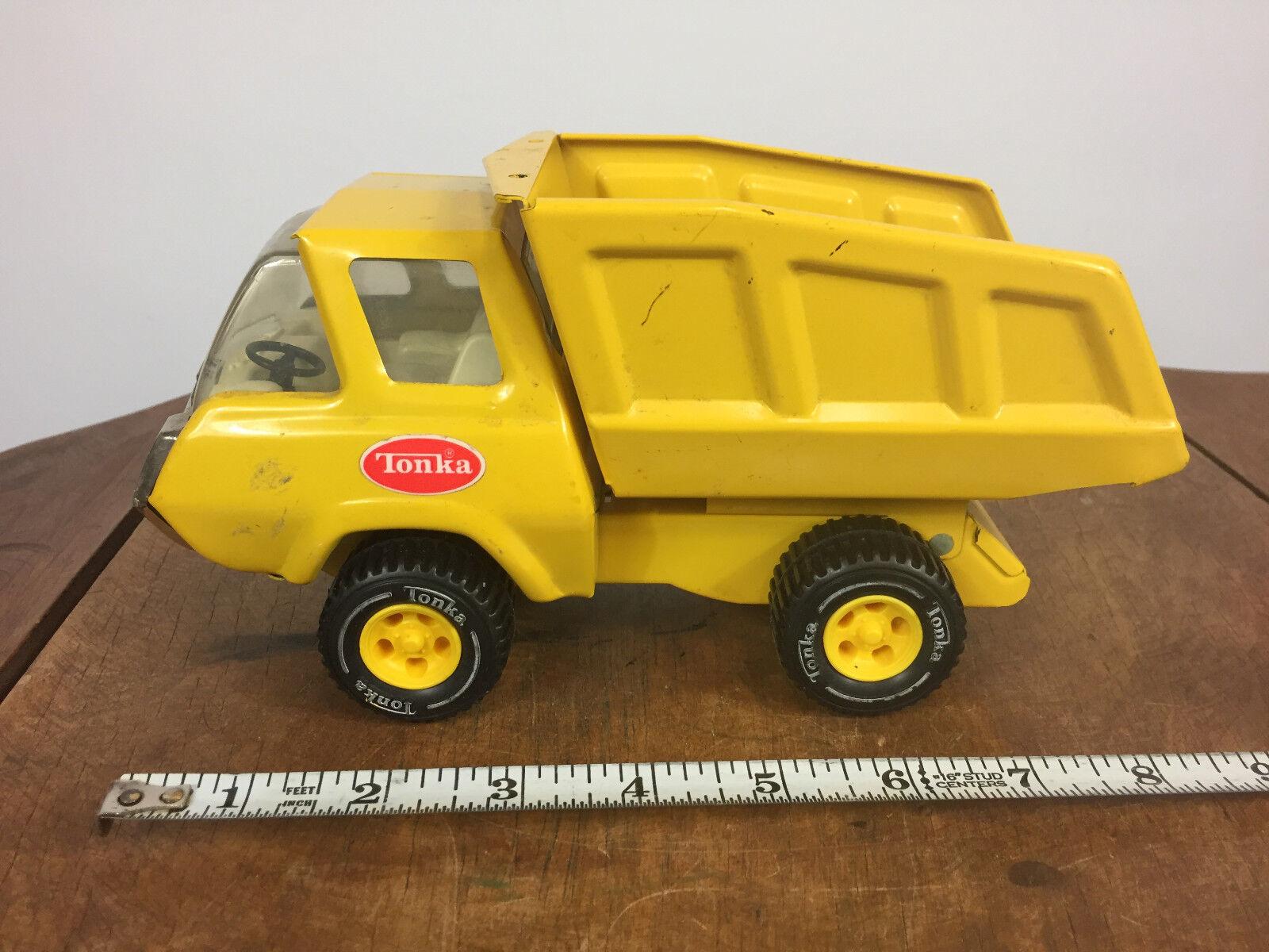 Vintage Jaune Métal TONKA camion benne Mid Century Toy travail voiture 60 s 70 s